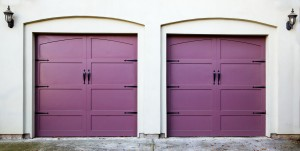 Two violet, purple, amethyst, or lavendar garage doors