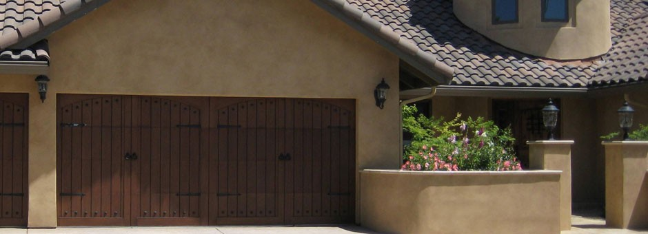 Wood carriage style garage door in El Dorado Hills