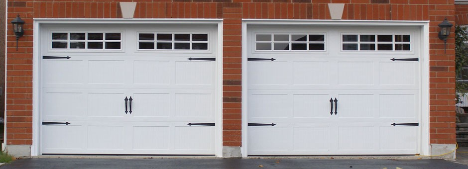Carriage style garage door from outside