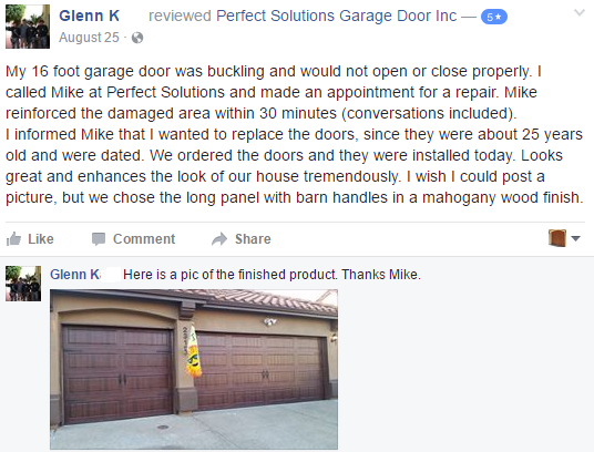 Customer review in Facebook with garage door picture