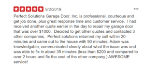 Our customers love the service they receive with Perfect Solutions for their garage door repair needs.
